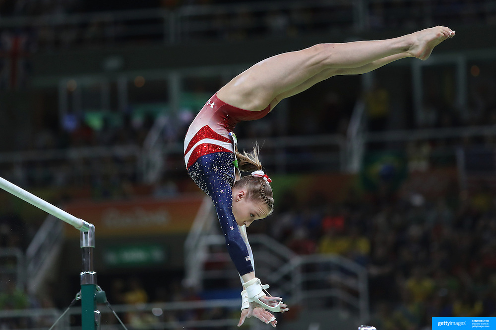 Gymnastics - Olympics: Day 4   Madison Kocian of the United States performing her routine on the Horizontal bar during the Artistic Gymnastics Women's Team Final at the Rio Olympic Arena on August 9, 2016 in Rio de Janeiro, Brazil. (Photo by Tim Clayton/Corbis via Getty Images)