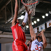Philadelphia 76ers assignee, Center CHRISTIAN WOOD (33) attempts to block Maine Red Claws Forward MALCOLM MILLER (13) shot under the rim in the first half of a NBA D-league regular season basketball game between the Delaware 87ers and the Maine Red Claws  Friday, Feb. 05, 2016 at The Bob Carpenter Sports Convocation Center in Newark, DEL.