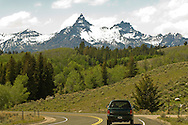 Beartooth Scenic Byway, Wyoming, Absaroka Range, Shoshone National Forest, Pilot and Index Peaks, travelers on opening day in May, Cooke City to Beartooth Pass and Red Lodge