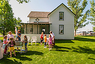 Big Horn County Historical Museum, Hardin, Montana, school children learning pioneer skills.