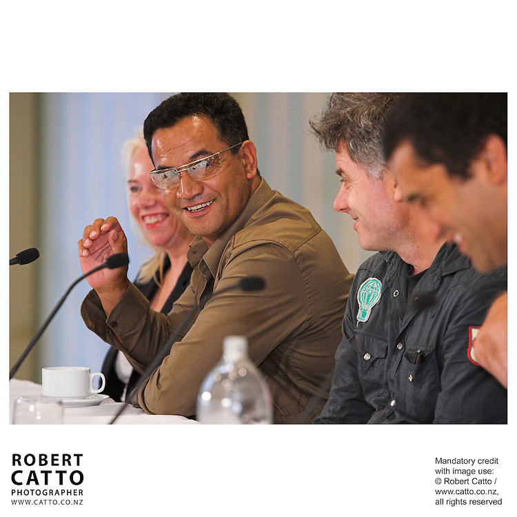 Temuera Morrison, director Vincent Ward and Cliff Curtis answer questions at the press conference before the premiere of the film River Queen in Wanganui, New Zealand.<br />