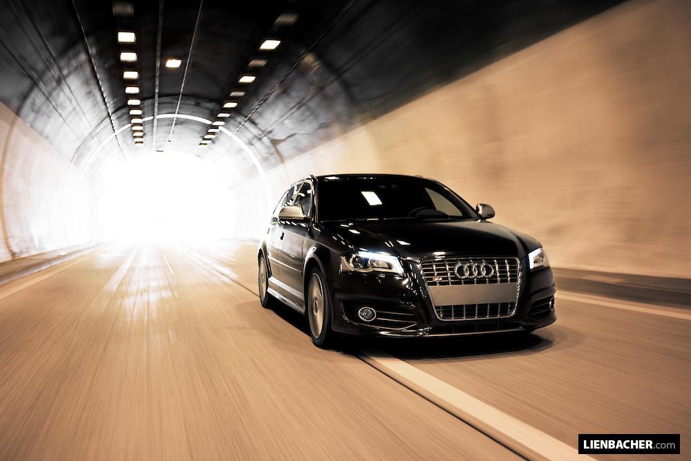 A black 2009 Audi S3 Sportback shot driving in an austrian autobahn-tunnel. Photo: Wolfgang Lienbacher