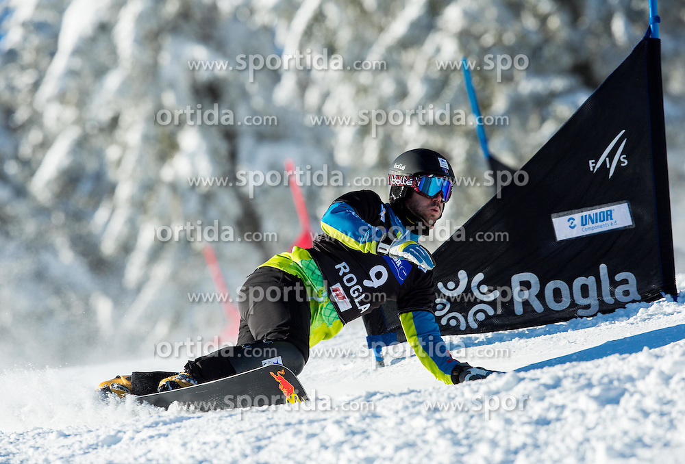 Sylvain Dufour of France competes during Qualification Run of Men's Parallel Giant Slalom at FIS Snowboard World Cup Rogla 2015, on January 31, 2015 in Course Jasa, Rogla, Slovenia. Photo by Vid Ponikvar / Sportida