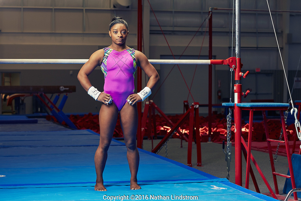 Three-time world champion gymnast Simone Biles photographed in Houston, TX by celebrity advertising photographer Nathan Lindstrom.<br /> <br /> &copy;2016 Nathan Lindstrom