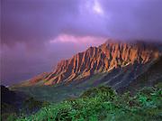 Kalalau Valley at sunset; Na Pali Coast, Kauai, Hawaii, from Kokee State Park lookout.