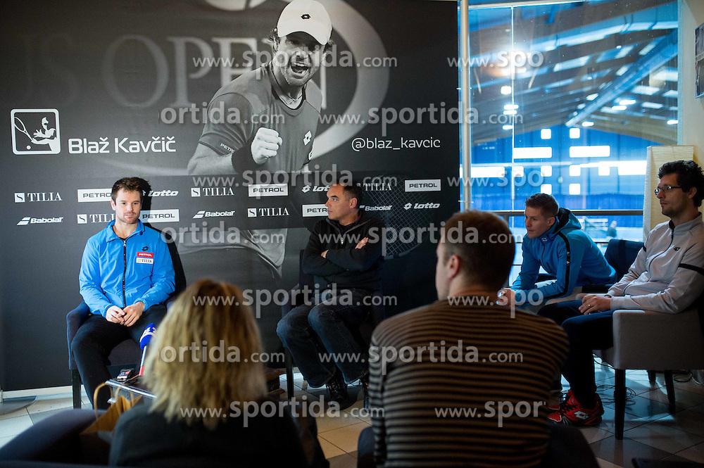 Blaz Kavcic, tennis player of Slovenia and Gasper Bolhar during press conference after the end of season, on December 17, 2015 in Tennis Academy Breskvar, Ljubljana, Slovenia. Photo by Vid Ponikvar / Sportida