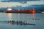 Rowers from the Olympic Peninsula Rowers Association—both novice and experienced—get a workout in on a nice February weekday. Port Angeles harbor, on Ediz Hook. www.oprarowing.org
