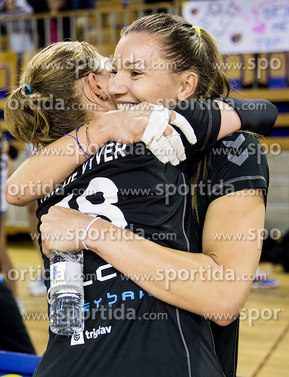 Ilka van de Vyver of Calcit Ljubljana and Olvera Olja Kostic of Calcit Ljubljana celebrate after winning during volleyball match between OK Calcit Ljubljana and Nova KBM Branik Maribor in Final of 1. DOL Slovenian Women National Championship 2015/16, on April 27, 2016 in Arena Tivoli, Ljubljana, Slovenia. Photo by Vid Ponikvar / Sportida