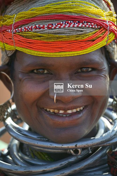 Portrait of a Bondo woman in traditional bead costume, Orissa, India