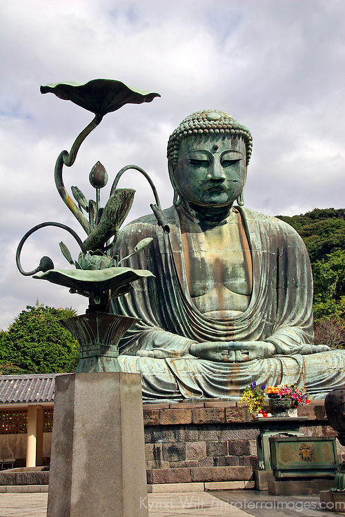 Asia, Japan, Kamakura. The Great Buddha of Kamakura, a bronze statue dating back to 1252.
