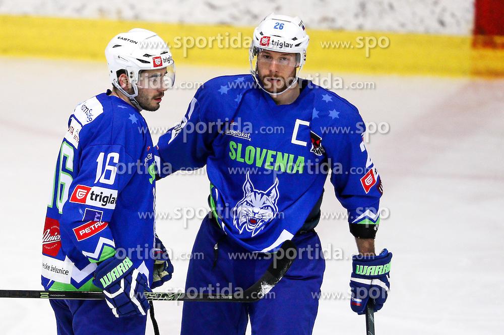 Jurij Repe of Slovenia and Jan Urbas of Slovenia during friendly ice hockey match between Slovenia and Croatia, on April 12, 2016 in Ledena dvorana, Bled, Slovenia. Photo By Matic Klansek Velej / Sportida