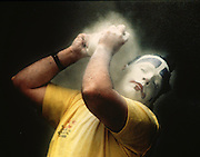 A clown puts on his powder before the Shrine Circus in Memphis, Tennessee.