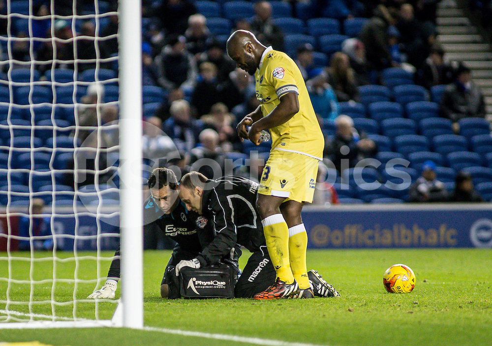 David Forde of Millwall  receives attention while Danny Shittu of Millwall watches on during the Sky Bet Championship match between Brighton and Hove Albion and Millwall at the AMEX Stadium, Brighton, England on 12 December 2014. Photo by Liam McAvoy.