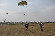 Parachuters jumps at La fiere
