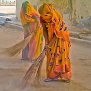 Untouchable women sweeping the streets of Mandawa, Rajasthan (India) in March 2007.