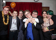 Group photo of friends at 'The 20th Annual Hayward Gay Prom,' at Chabot College, in Hayward, CA.