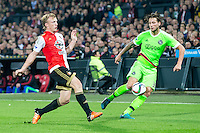ROTTERDAM - Feyenoord - Ajax , Voetbal , KNVB Beker , Seizoen 2015/2016 , Stadion de Kuip , 25-10-2015 , Speler van Feyenoord Dirk Kuyt (l) in duel met Ajax speler Mitchell Dijks (r)