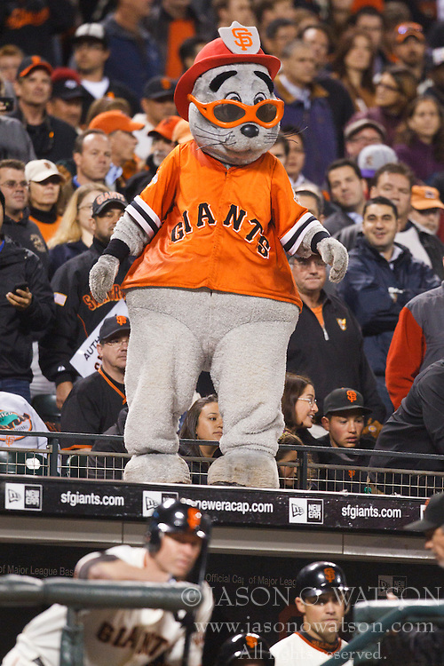 September 14, 2010; San Francisco, CA, USA;  The San Francisco Giants mascot on top of the home dugout during the ninth inning against the Los Angeles Dodgers at AT&T Park. Los Angeles defeated San Francisco 1-0.
