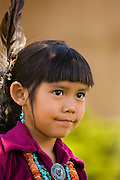 Young Navajo girl in contemporary ceremonial dress; Grand Canyon, Arizona.