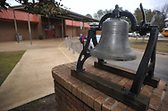 A bell outside of Oxford Elementary, in Oxford, Miss. on Tuesday, February 26, 2013, will be returned to Burns Belfry Church.