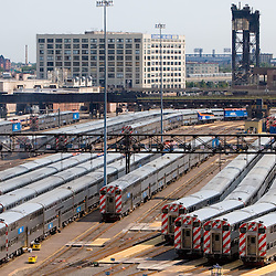 Many trainsets are lined up awaiting the afternoon rush hour in the yards south of Chicago's Union Station.