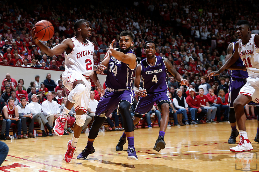 Indiana guard Josh Newkirk (2) in action as Northwestern played Indiana in an NCCA college basketball game in Bloomington, Ind., Saturday, Feb. 25, 2017. (AJ Mast)