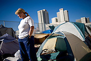 RENO, NV - OCTOBER 6:  Mary Jackson lives in a tent city for the homeless in downtown Reno, Nevada October 6, 2008. The City of Reno set up the tent city when existing shelters became overcrowded as Nevada struggles with one of the highest unemployment rates in the country. (Photo by Max Whittaker/Getty Images)