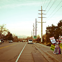 Shirley Phelps-Roper protesting in front of Congregation Kol Ami in Salt Lake City.  She is the daughter of Pastor Fred Phelps and leading member of the Westboro Baptist Church. A lawyer, she is in charge of legal/logistical details for the WBC.