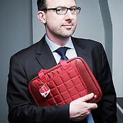 PARIS, FRANCE. FEBRUARY 16, 2012. Stephane Tripot, general manager at Port Designs. Some of their computer bags are made out of fiber coming from plastic bottles. Photo: Antoine Doyen