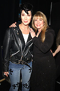"""Cher, with Elvis Presley wig and Stevie Nicks backstage at the """"VH1 Divas Las Vegas"""", a concert to benefit the VH1 Save the Music Foundation, at the MGM Grand Garden Arena in Las Vegas, 5/23/02. Photo by Frank Micelotta/ImageDirect"""
