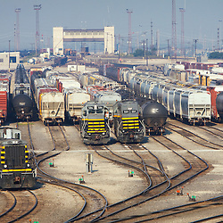 Locomotives gather at the east end of the Belt Railway of Chicago's giant Clearing classification yard in Bedford Park, IL. Built in the early 1900s, Clearing Yard is the largest freight yard in the Chicago area, and one of the largest in the country.
