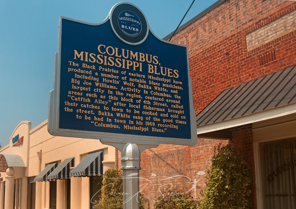 A historic marker introduces visitors to Catfish Alley Aug. 16, 2010 in Columbus, Miss. The narrow side street, part of the Mississippi Blues Trail, was a popular venue for musicians like B.B. King, Bobby Bland, Little Richard, and Louis Armstrong. (Photo by Carmen K. Sisson/Cloudybright)