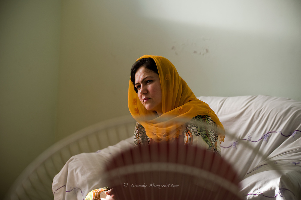 MP Ms. Fawzia Koofi listens during a meeting while visiting her home province Badakshan. Faizabad, Afghanistan, 2012
