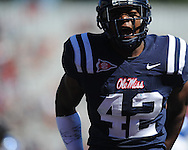 Ole Miss linebacker D.T. Shackelford (42)  at Vaught-Hemingway Stadium in Oxford, Miss. on Saturday, October 2, 2010. Ole Miss won 42-35 to improve to 3-2..