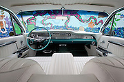 Image of a Cadillac Convertible interior in Costa Mesa, California, American west coast, property released