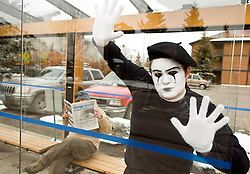 NEWS&GUIDE PHOTO / PRICE CHAMBERS.Trapped inside a glass-enclosed bus stop, a mime was rescued by Jackson Hole Fire/EMS on Wednesday after the hours-long ordeal left the performer dazed and confused.