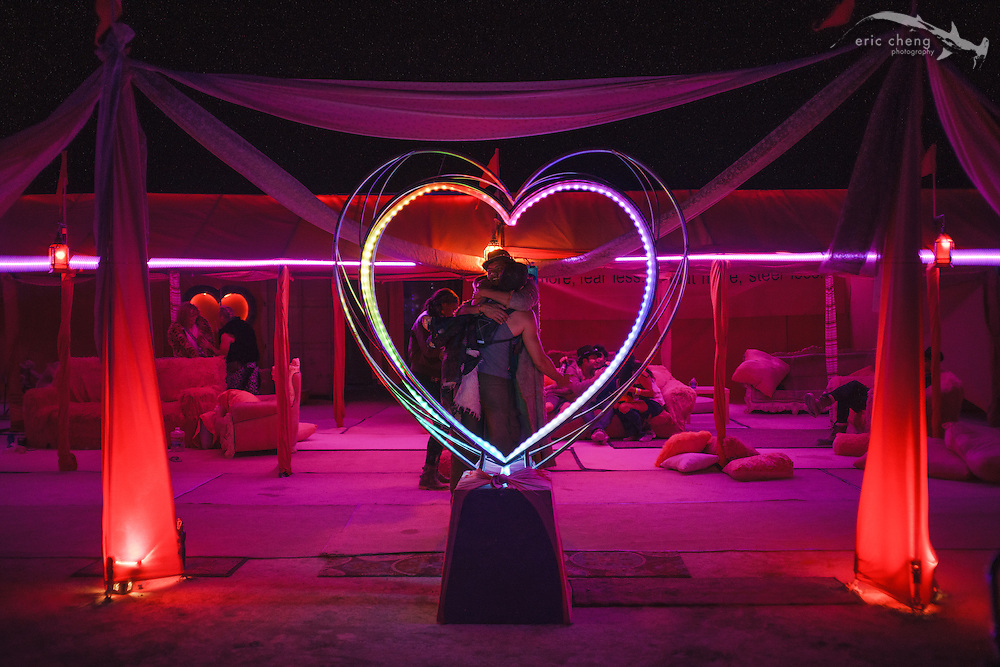 Some love at Pink Heart. Burning Man 2014