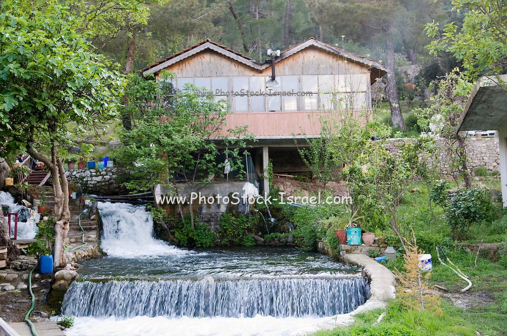 Turkey, Antalya, Koprulu River Canyon A fish restaurant on a small creak cascading into the river
