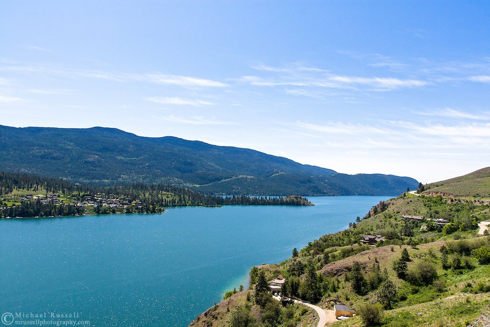 Lakeside homes along Kalamalka Lake in Vernon, British Columbia, Canada
