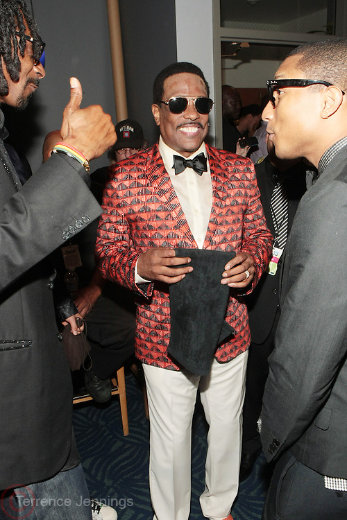 Los Angeles, CA-June 30:  (L-R) Recording Artists Snoop Lion, Charlie Wilson, and Pharrell backstage at the 2013 BET Awards Winners's Room Inside held at LA Live on June 30, 2013 in Los Angeles, CA. ©Terrence Jennings/Retna, Ltd
