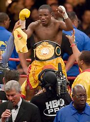 May 6, 2006 - Las Vegas, NV - Kassim Ouma celebrates his 12 round split decision win over Marco Antonio Rubio at the MGM Grand Garden Arena.