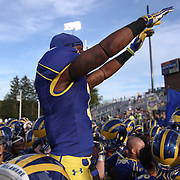 Delaware Cornerback Tim Breaker (3) leads The University of Delaware fight song after #13 Delaware defeated The Bison of Bucknell 19 - 3 at Delaware Stadium Saturday Sept. 15, 2012 in Newark Delaware...