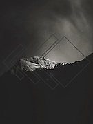 Mountain with graphic elements - monochrome photograph processed on iPhone
