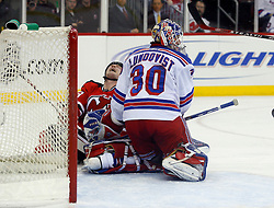 March 19, 2008; Newark, NJ, USA;  New Jersey Devils right wing David Clarkson (23) reacts after shooting the puck wide of New York Rangers goalie Henrik Lundqvist (30) during the second period at the Prudential Center.