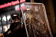 Frankfurt am Main | 09 Feb 2015<br /> <br /> Am Montag (09.02.2015) demonstrierte bereits zum dritten Mal die islamfeindliche und rassistische Gruppierung PEGIDA (Patrioden gegen die Islamisierung des Abendlandes) unter F&uuml;hrung der Frankfurterin Heidi Mund und in Gegenwart des Neonazis und Vorsitzenden der NPD Hessen, Stefan Jagsch, an der Katharinenkirche in Frankfurt am Main, PEGIDA konnte etwa 100 Demonstranten mobilisieren. An den Gegendemos nahmen etwa 1000 Menschen teil.<br /> Hier: Ein von Gegendemonstranten geworfenes Ei hat ein Schild eines Polizeibeamten getroffen.<br /> <br /> &copy;peter-juelich.com<br /> <br /> [No Model Release | No Property Release]