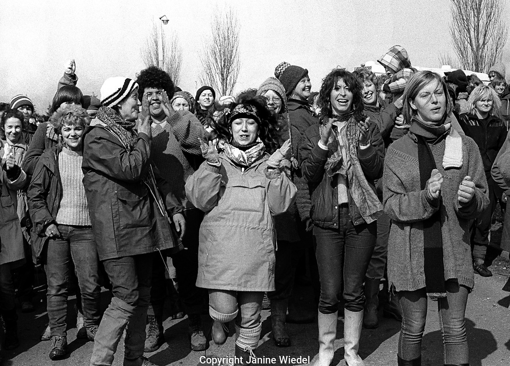 Protest at the anti-nuclear Greenham Common Women's Peace Camp in 1983 / 1984. The women only camp surrounded the RAF  base in Berkshire (UK) where American cruise missiles were being stored.