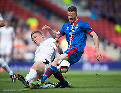 Falkirk's Peter Grant in on Inverness Caledonian Thistle's Marley Watkins. Falkirk 1 v 2 Inverness CT, Scottish Cup final at Hampden.