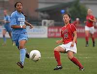 Ohio State midfielder Danica Wu (19) plays a ball forward as OSU takes on the University of North Carolina in the second half of an NCAA women's college soccer game in Columbus, Ohio on Sunday, Sept. 4, 2011, at Jesse Owens Memorial Stadium.
