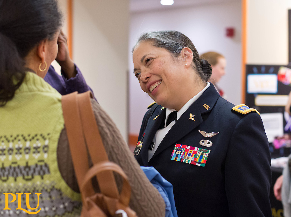 """Lt. Col. Celia FlorCruz speaks about sexual assault as part of the Spring Spotlight Series """"and Justice for All"""" at PLU on Tuesday, Feb. 17, 2015. (Photo/John Froschauer)"""