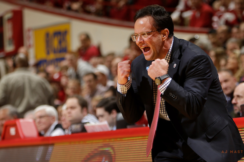 Indiana head coach Tom Crean as Michigan played Indiana in an NCCA college basketball game in Bloomington, Ind., Sunday, Feb. 8, 2015. (AJ Mast / Photo))